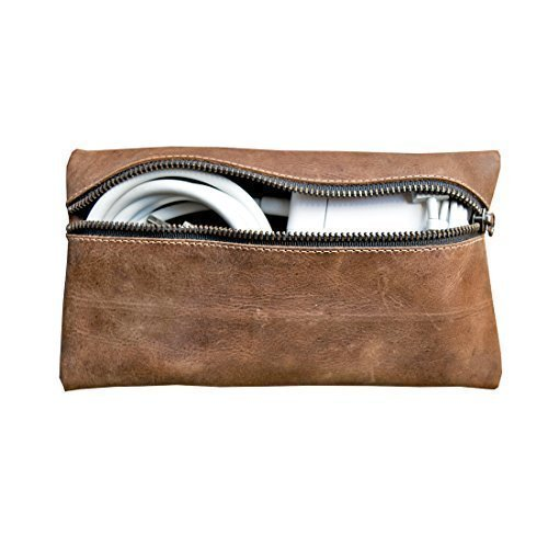 Rustic Leather All Purpose Utility & Charger Case for MacBook, iPad & Laptop Handmade by Hide & Drink :: Bourbon Brown