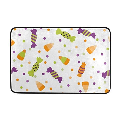 (ZOZGETU Doormat Vintage Happy Halloween Cute Colorful Candy Non-Slip Doormat Area Rug for Entrance Way Front Door Indoor Outdoor Size 15.7