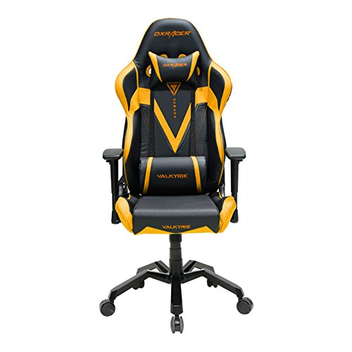 41JO5GWF3vL - DXRacer-Valkyrie-Series-OHVB03NA-Racing-Seat-Office-Chair-Gaming-Ergonomic-adjustable-Computer-Chair-with-Included-Head-and-Lumbar-Support-Pillows-Black-Gold