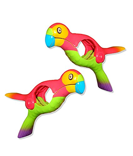 Parrot BocaClips by O2COOL, Beach Towel Holders, Clips, Set of two, Beach, Patio or Pool Accessories, Portable Towel Clips, Chip Clips, Secure Clips, Assorted Styles - Towel Clamp