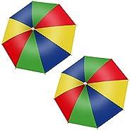 Umbrella Hat, 2 PCS Portable Waterproof Sun Protection Umbrella Cap with Elastic Band for Adults Kids Women Me