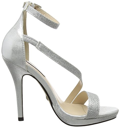 00 Ouvert Escarpins Diamante Femme Slant Bout Silver Heel Strap Quiz Argenté WZYpvqw4I