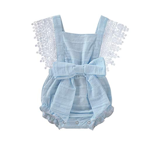 (Newborn Baby Ruffle Romper Lace Sleeveless Bodysuits Bowknot Tassels Jumpsuit Sunsuits Summer Outfits (3-6M, Blue lace Romper))