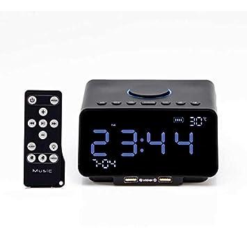 Q&M Reloj Despertador Digital Bluetooth inalámbrico 4.2 Posponer al Lado de la Cama Radio de la