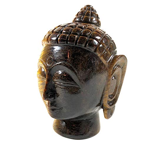 Agar Creations - Hand Carved Tiger Eye Buddha Head Sculpture - Buddha Face Statue, Carving