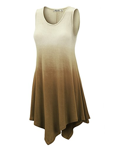 WT1053 Womens Round Neck Ombre Sleeveless Tunic Tank Top XL BROWN