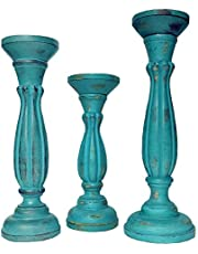 Benjara, Turquoise, Handmade Wooden Candle Holder with Pillar Base Support, Set of 3