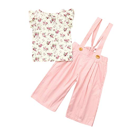Rakkiss Girls Clothes Set Floral Tops+Solid Overalls Pants Sleeveless Clothes Outfits Pink -