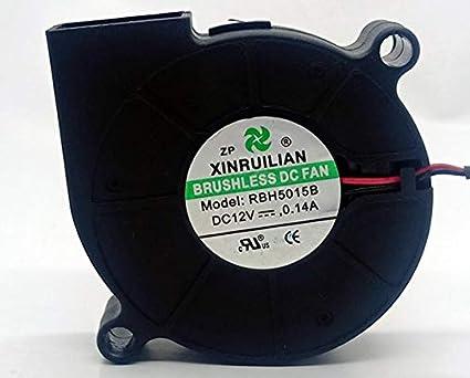 XINRUILIAN Ventola 50mm xx15 RBH5015B2 24V DC 0,12A 3W Air Blower Fan Soffiatore a centrifuga a Spinta tangenziale turbina 50 mm 5 cm 2 Fili Raffreddamento +//-