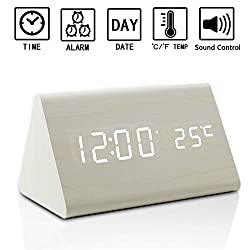 Dual Power Wooden LED Digital Alarm Clock, Displays Time Date And Temperature, Cube USB 4AAA Battery Powered Sound Control Desk Alarm Clock for Kid,Heavy Sleepers By Zeekoo (White)