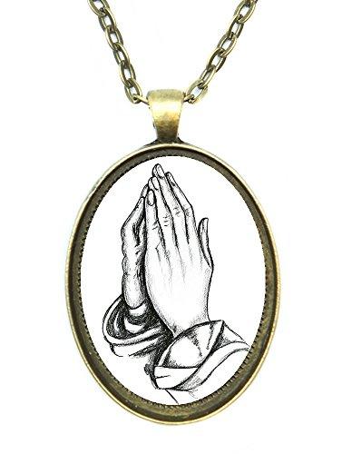 - Praying Hands Huge 30x40mm Handmade Antique Bronze Gold Pendant