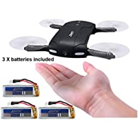 Inkach Pocket Selfie Drone, Foldable Headless Mode RC Quadcopter with HD Camera 2.4G 6-Axis Gyro Altitude Hold 3PCS 500mAh Battery