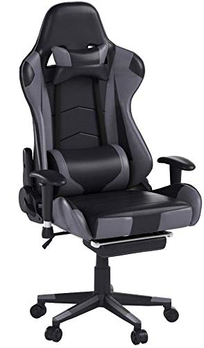 Killbee Ergonomic Reclining Swivel Gaming Chair Large Size PVC Leather Executive Office Chair with Headrest Lumbar Support Footrest (Gray) Killbee