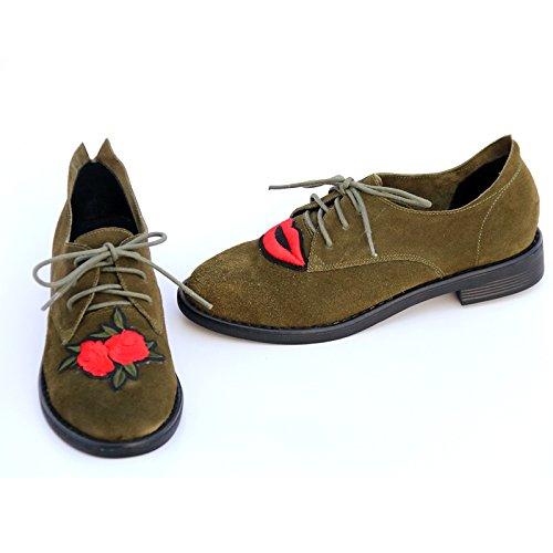 étudiants Automne broderie courroie occasionnels armée Chaussures le simple d'attache chaussures dames cuir la en la Angleterre de wild Show Dans Vert w8pPTq6w