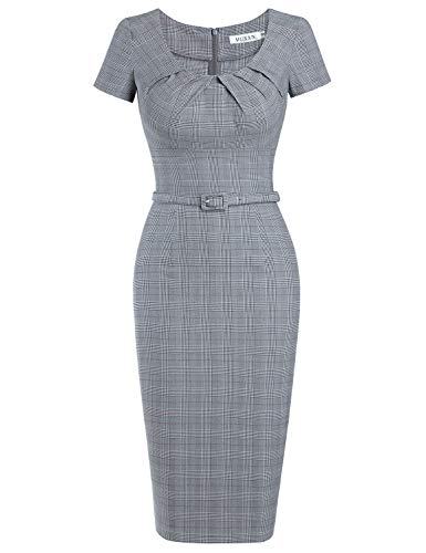 Satin Cap Plaid - MUXXN Lady Pinup Style Semi Formal Day Outdoor Casual Fall Pencil Party Dress (Grey Plaid XL)