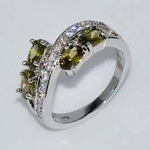 (jacob alex ring 4*6mm Green Peridot Ovel Band Ring Size6 Women's 10Kt White Gold Filled Free)