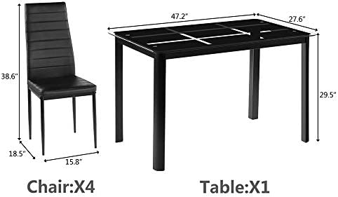 Kitchen Dining Room Set, Black Dining Table and 4 Chairs, Rectangle Tempered Glass Dining Table and 4 Chairs with Nine Block Box Pattern