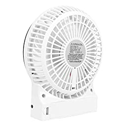 VersionTech Portable Fans Rechargeable Fans Mini USB Fans for Camping Car Office Desktop (3 Speeds, White)