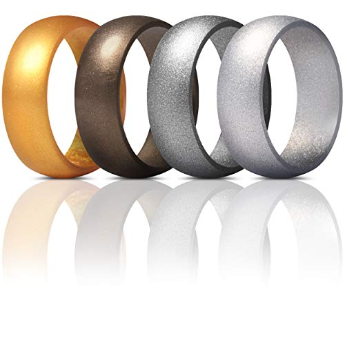 ThunderFit Mens Silicone Rings Wedding Bands - 4 Pack Classic & Striped Style (Men Bronze, Gold, Gun Metal, Silver, 6.5-7 (17.3mm))