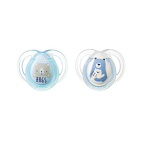 Tommee Tippee Closer to Nature Night Pacifier, 0-6 Months, 2 Count (Designs May Vary)