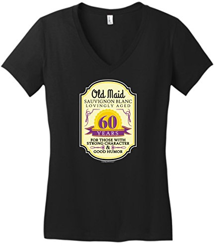 60th Birthday Party Supplies 60th Birthday Gifts for All Wine Label Old Maid Juniors VNeck Large Black (Fridge Wine Lg)