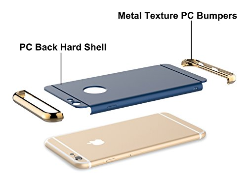"iPhone 6 Case, BlackParrot 3 In 1 Ultra Thin and Slim Hard Case Coated Non Slip Matte Surface with Electroplate Frame for Apple iPhone 6 (4.7"")(2014) and iPhone 6S (4.7"")(2015) - Blue & Gold"