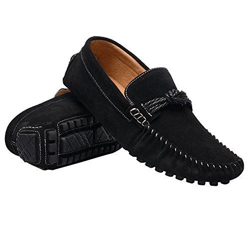 Men's 8 Slip Flat Suede US Driving Black Leather Heel EnllerviiD On Shoes M Loafers Car d7CRxw1q