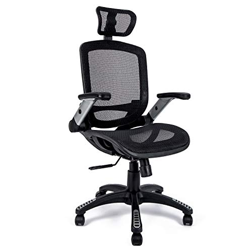 Gabrylly Office Chair Mesh Computer Chair, High-Back Ergonomic Gaming Chair, Swivel Executive Desk Chair with Headrest and Lumbar Support (Black)
