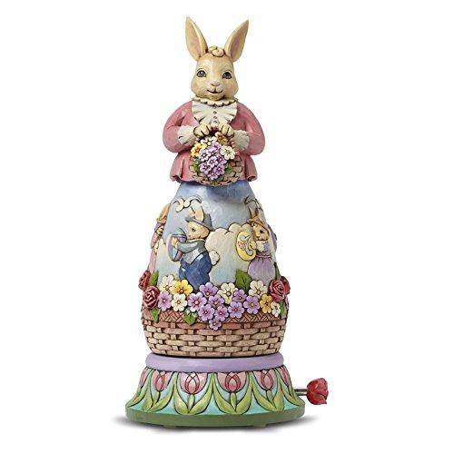 Jim Shore Easter Bunny Rotating Musical Figurine 10.75