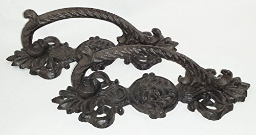 Aunt Chris' Products - [Lot/Set of 2] - Door Handle with Lion Face - Heavy Rustic Cast Iron - Victorian Design - Barn Handle, Gate, Pull Shed, Door Handles, Ect. - Use Indoor Or Outdoor (Iron Fireplace Fancy)