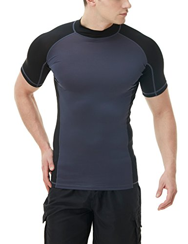 TSLA Men's UPF 50+ Short Sleeve Crew Surf Athletic Fit Rashguard, Crew Neck(msr15) - Charcoal & Black, 2X-Large