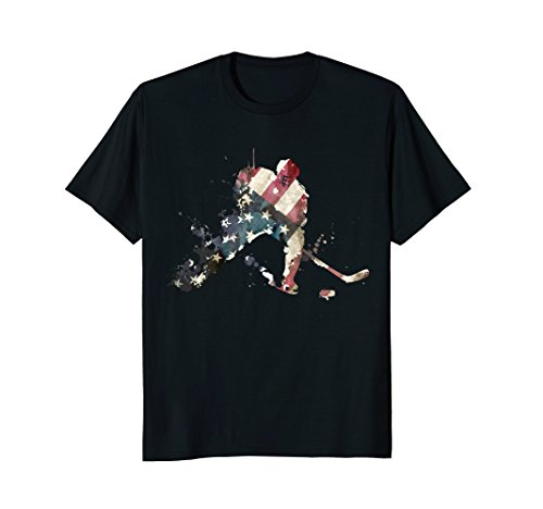 fan products of American Flag Hockey Shirt Ice Hockey Patriotic US T-Shirt