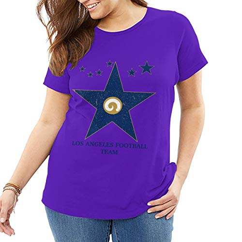 (AeosJoy Big Size Women's T-Shirt St. Louis Rams, Printed Ladies Short Sleeves Crewneck Loose Tee from XL to 6XL Purple)