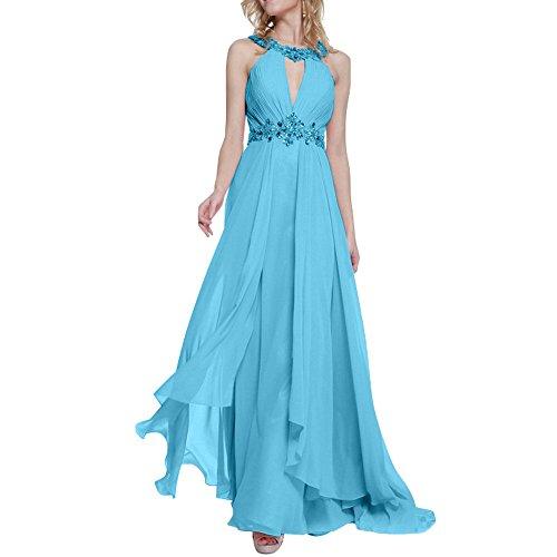 Abendkleider Formal Charmant Tanzenkleider Festlichkleider Rosa Blau Damen Steine Lang Anmutig High Partykleider Neck OOTRYwHq