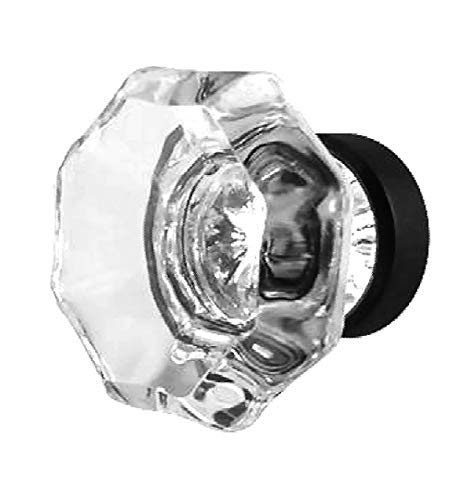 Glass Handles for Dresser, Kitchen Cabinet Knobs or Closet Drawer Pulls 8 Pack T26FN Clear Crystal Glass Octagon Style Knobs with Oil Rubbed Bronze Hardware. Romantic Decor & More