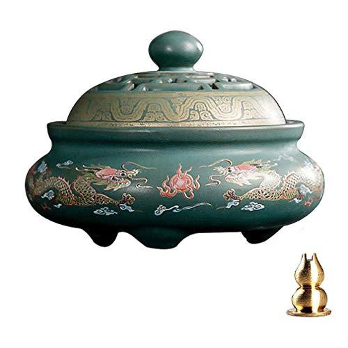 GUVVEAZ Porcelain Incense Holder Burner (Stick/Cone/Coil Incense) Ceramic Ash Catcher Tray Bowl with Brass Calabash Incense Stick Holder