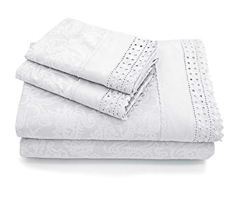 (MARQUESS Microfiber Sheet Set - Hypoallergenic & Super Soft, Deep Pocket, 100% Brushed Lace, Breathable, Wrinkle Resistant and Fade Resistant Bedding Sheets- 4 Piece Set (White, King))
