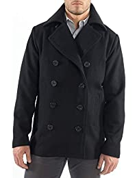 Mason Mens Wool Blend Classic Pea Coat Jacket