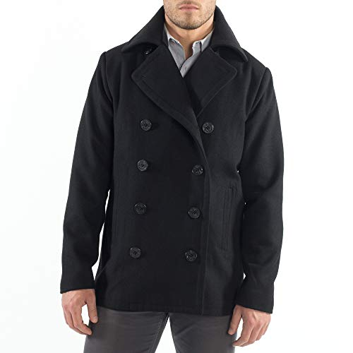 (alpine swiss Mason Mens Wool Blend Classic Pea Coat Black Medium)