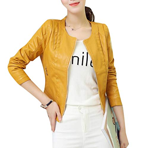 Giallo Bomber Pu Donna Inverno Jacket Fashion Zip Coat Autunno Xinheo Leather Wrap qAfwaqR