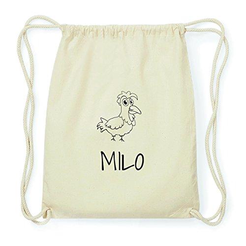JOllipets MILO Hipster Turnbeutel Tasche Rucksack aus Baumwolle Design: Hahn