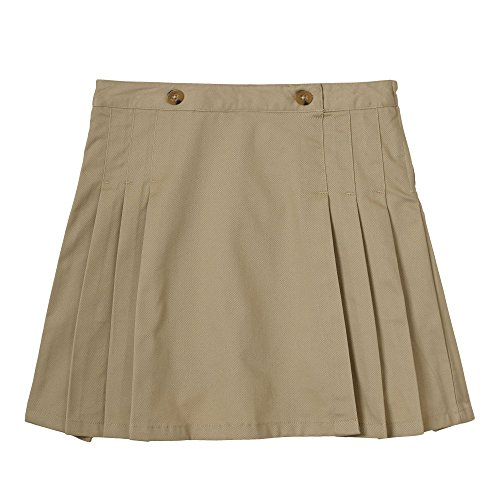 French Toast Big Girls' Peached Twill Pleated Scooter, Khaki, (Uniform Outlet Store)