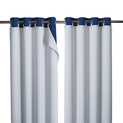 NICETOWN Cold Heat Light Noise Blocking Blackout Curtain Liners with Rings: Easy to Open and Closed, No Chemical Smell Soft Privacy Liners for Living Room Curtains, 1 Pair, 50 x 80 Per Panel