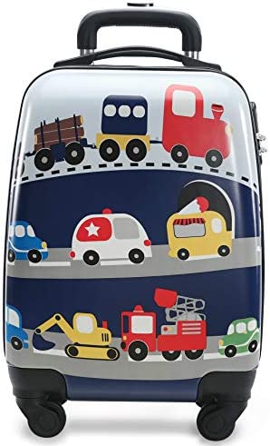 Lttxin cute kids suitcase pull along boys travelling with 4 wheel hard shell 18 inch for boys veholes