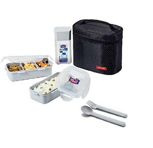 Microwavable Airtight 4 Cup Bento Lunch Box Set, Bpa Free Water Bottle, Spoon and Fork - Lock & Lock