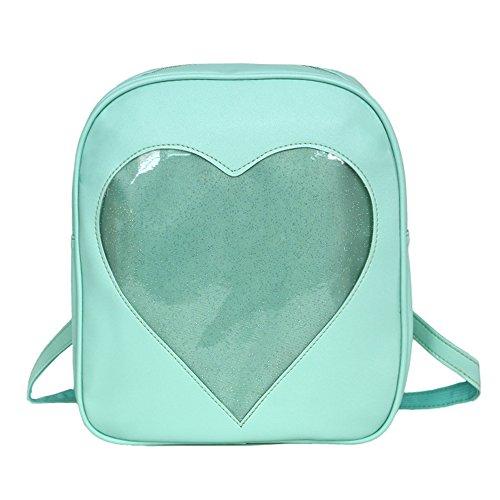 YingTech Teens Girls Candy PU Leather Backpack Bag Plastic Heart Beach School Bag (Light (Clear Heart)