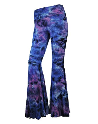 SugarRock Sugar Rock Women Paisley Palazzo Hippie Pants Fold-Over Waist Bell Bottom Leg