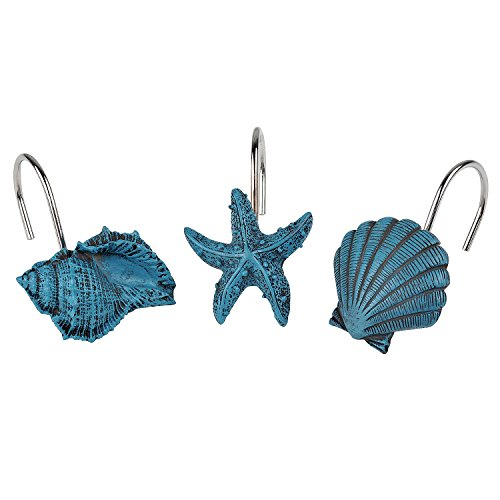 ANDREW FAMILY New 12pcs Decorative Home Bathroom Seashell Shower Curtain Hooks Seashell Starfish Conch-Teal by AF ANDREW FAMILY