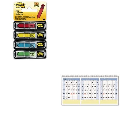 KITAAGPM1528MMM684SH - Value Kit - At-a-Glance QuickNotes Three-Month Horizontal Wall Calendar (AAGPM1528) and Post-it Arrow Message 1/2amp;quot; Flags (MMM684SH) ()