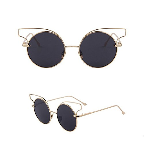 2015 Fashion Women Classic Cat Eye Sunglasses Novelty Eyewear Round Alloy Frame Crush Oculos De Sol Uv400 (Gold)